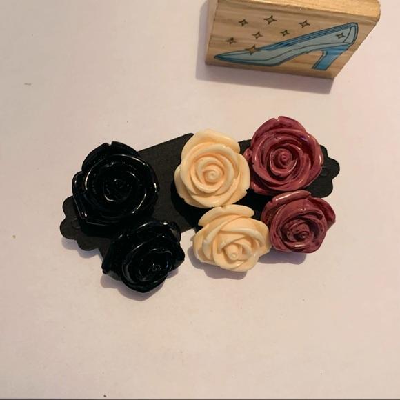 Vintage minimalist Plastic Roses Stud Earrings